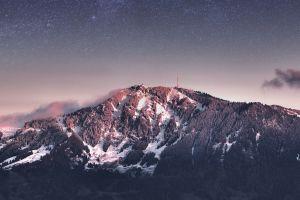 nature night landscape low saturation mountains