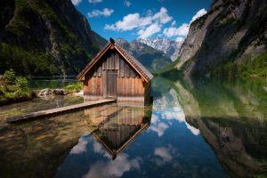 nature obersee lake landscape lake cabin
