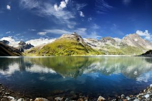 nature reflection landscape mountains sky water