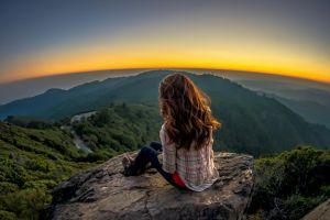 nature rock women model women outdoors landscape panorama long hair