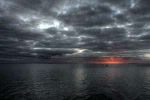 nature sky sea gray clouds