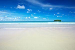 nature tropical clouds sand horizon island landscape sea sky beach