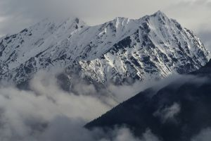 nature winter mountains clouds