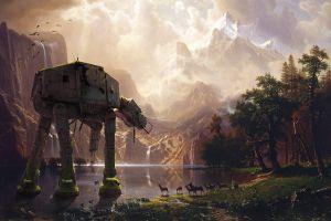 nature wreck albert bierstadt at-at artwork imperial forces digital art star wars comic art science fiction