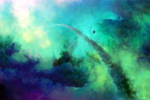 nebula space planet digital art stars space art