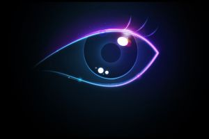 neon artwork digital art eyes