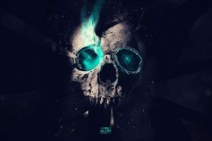 neon cyan artwork digital art turquoise black background skull
