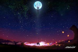 neon genesis evangelion anime eva stars night moon