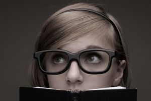 nerds women women with glasses books model looking up