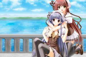 nerine  thigh-highs anime girls lisianthus eustoma shuffle! anime