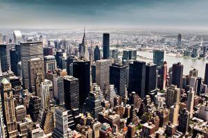 new york city chrysler building blurred cityscape urban city building tilt shift