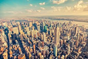 new york city empire state building aerial view cityscape manhattan