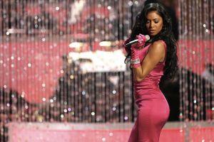 nicole scherzinger women tight clothing gloves long hair dress pink dark hair singing