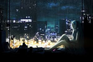 night anime sitting vocaloid window anime girls cityscape hatsune miku