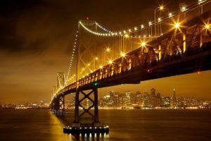 night architecture river bridge water digital art cityscape clouds lights new york city skyscraper
