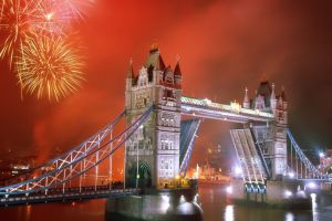 night bridge fireworks cityscape new year london river thames city