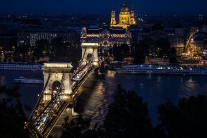 night budapest hungary chain bridge cityscape bridge