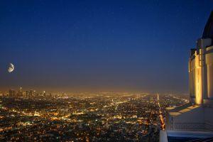 night building city lights lights city los angeles cityscape observatory