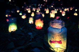 night depth of field bottles lights