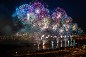 night fireworks colorful city