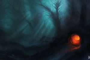 night forest fantasy art dark fantasy