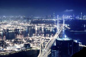 night harbor hong kong artificial lights cityscape