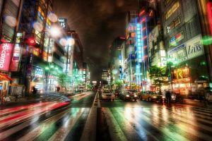 night hdr traffic city rain wet japan neon long exposure lights tokyo road cityscape