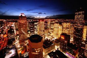 night lights sky city cityscape