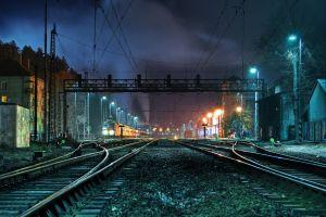 night lights train station photography hdr train