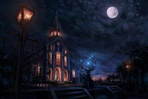 night moon cityscape city church fantasy art