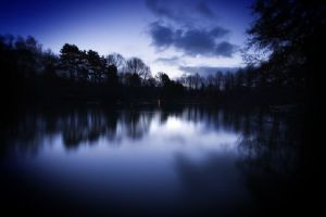 night nature dark river lake blue