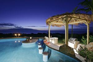 night palm trees swimming pool
