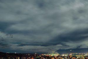 night panorama sky cityscape volcano