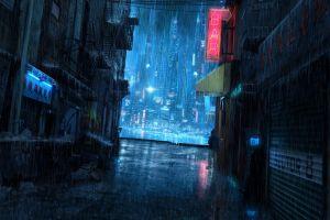 night rain science fiction futuristic city cyberpunk futuristic cityscape apocalyptic