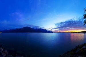 night sky clouds sea lake