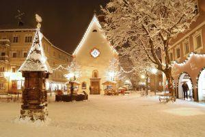 night snow christmas city lights