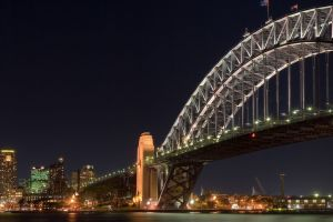night sydney harbour bridge triple screen sydney bridge city