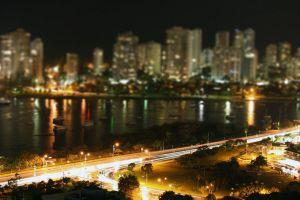 night traffic long exposure lights