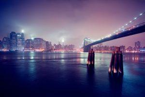 night usa skyscraper cityscape city digital art bridge lights manhattan new york city brooklyn bridge building river skyline clouds