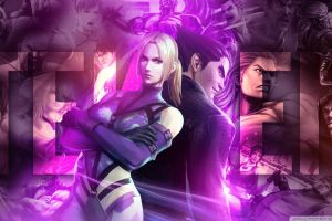 nina williams (tekken) blonde jin kazama video games purple tekken