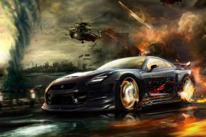 nissan gt-r digital art war artwork photoshop fire vehicle car