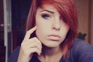 nose rings women model piercing redhead face blue eyes looking at viewer lana branishti
