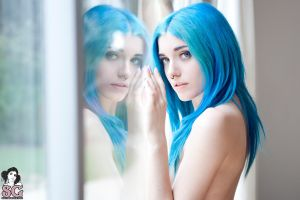 nose rings yuxi suicide reflection blue hair blue eyes suicide girls looking at viewer model women