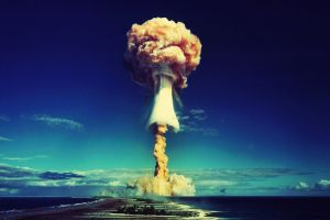 nuclear explosion mushroom clouds atomic bomb sea bikini atoll