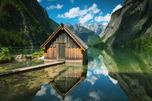 obersee lake clouds lake nature landscape reflection cabin obersee mountains