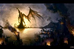 old ship sea fantasy art apocalyptic cthulhu