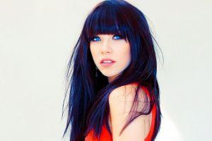 open mouth carly rae jepsen canadian white background blue eyes women dark hair