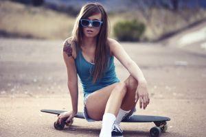 open mouth skateboard women with shades model brunette teravena sugimoto tank top women jean shorts women outdoors long hair blue tops tattoo