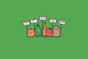 orange (fruit) minimalism green simple threadless veganism potatoes simple background carrots green background humor signs apples