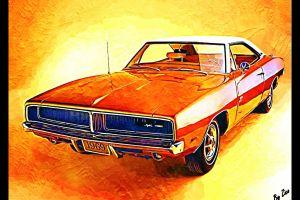 orange muscle cars old car artwork dodge charger car vintage